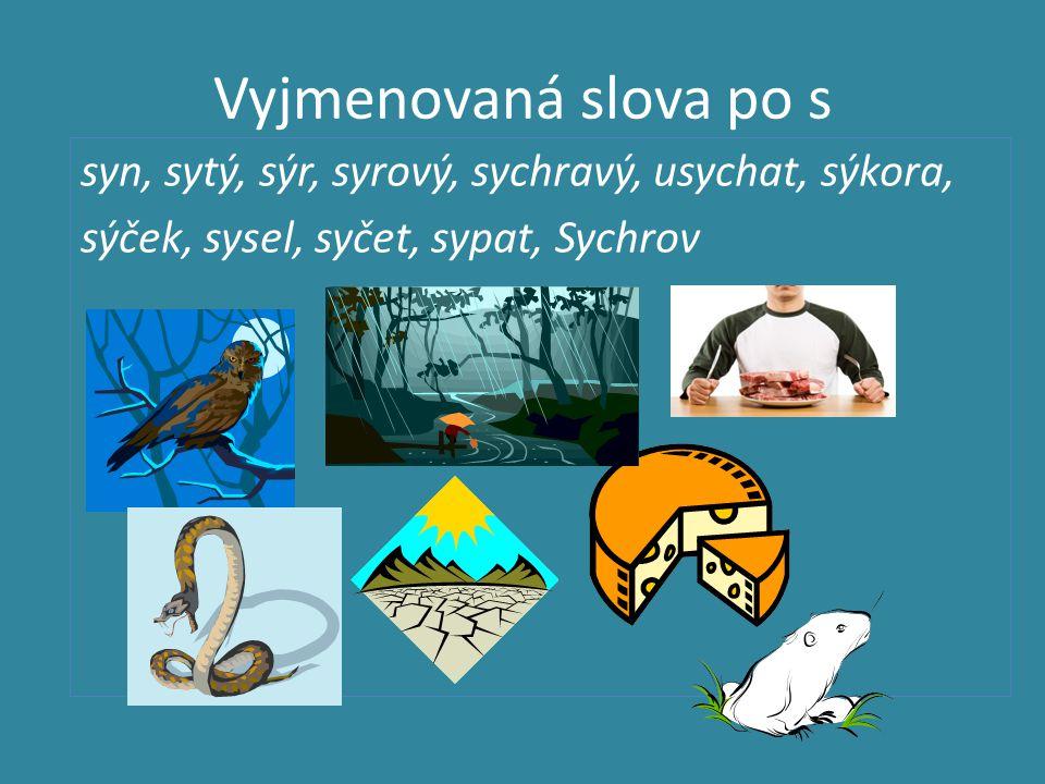 Vyjmenovaná slova po s syn, sytý, sýr, syrový, sychravý, usychat, sýkora, sýček, sysel, syčet, sypat, Sychrov