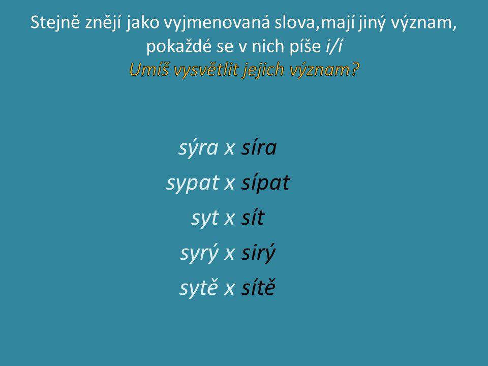 sýra x sypat x syt x syrý x sytě x síra sípat sít sirý sítě
