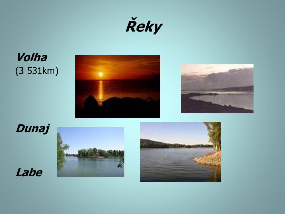 Řeky Volha (3 531km) Dunaj Labe