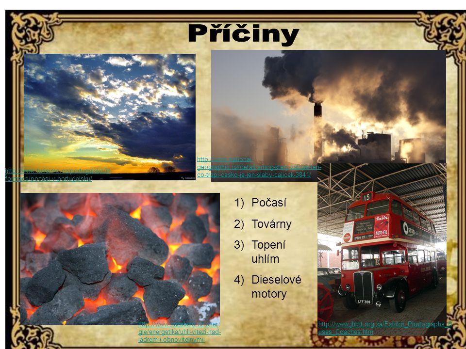 Příčiny Počasí Továrny Topení uhlím Dieselové motory