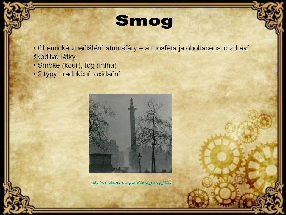 Smog Chemické znečištění atmosféry – atmosféra je obohacena o zdraví škodlivé látky. Smoke (kouř), fog (mlha)