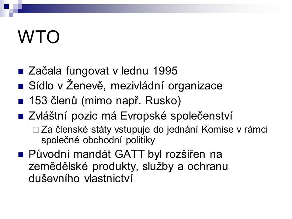 WTO Začala fungovat v lednu 1995 Sídlo v Ženevě, mezivládní organizace