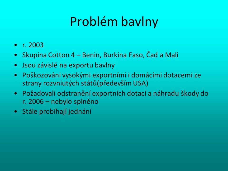 Problém bavlny r. 2003. Skupina Cotton 4 – Benin, Burkina Faso, Čad a Mali. Jsou závislé na exportu bavlny.