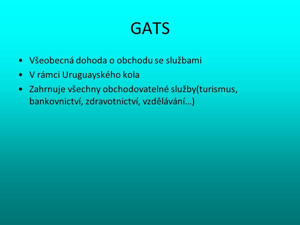 GATS Všeobecná dohoda o obchodu se službami V rámci Uruguayského kola