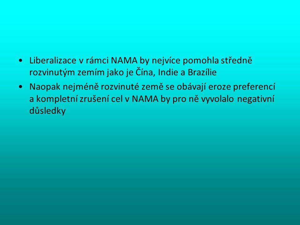 Liberalizace v rámci NAMA by nejvíce pomohla středně rozvinutým zemím jako je Čína, Indie a Brazílie