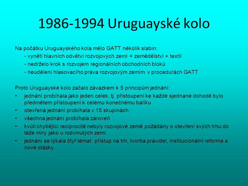 1986-1994 Uruguayské kolo Na počátku Uruguayského kola mělo GATT několik slabin: - vynětí hlavních odvětví rozvojových zemí = zemědělství + textil.