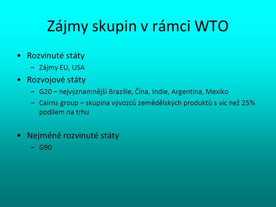 Zájmy skupin v rámci WTO