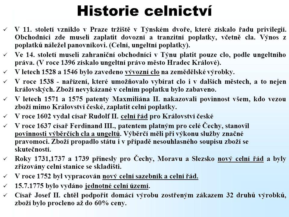 Historie celnictví