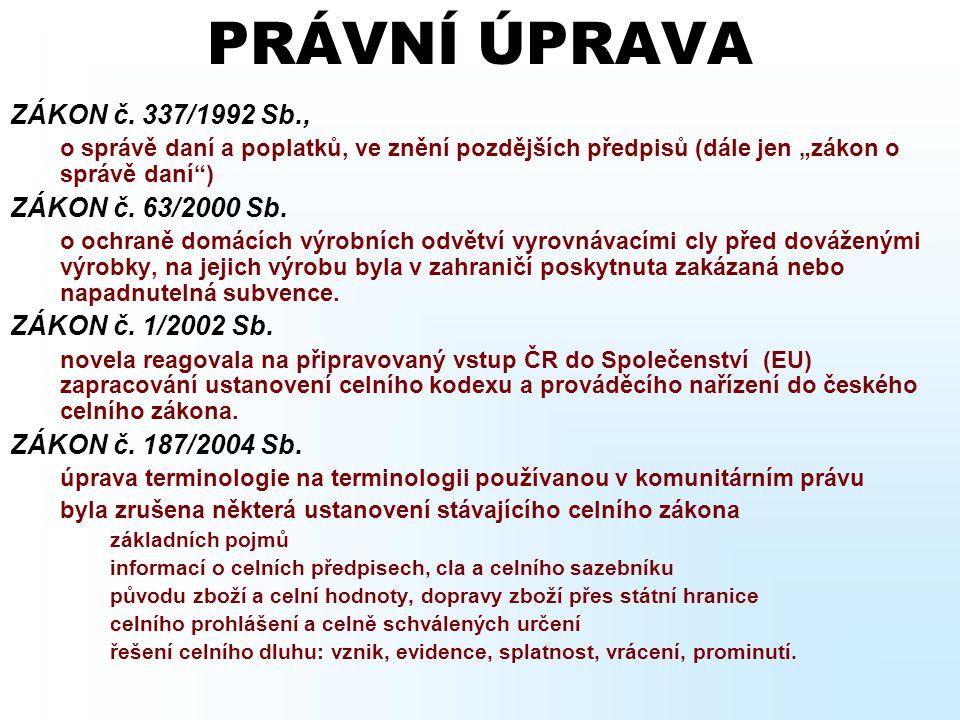 PRÁVNÍ ÚPRAVA ZÁKON č. 337/1992 Sb., ZÁKON č. 63/2000 Sb.