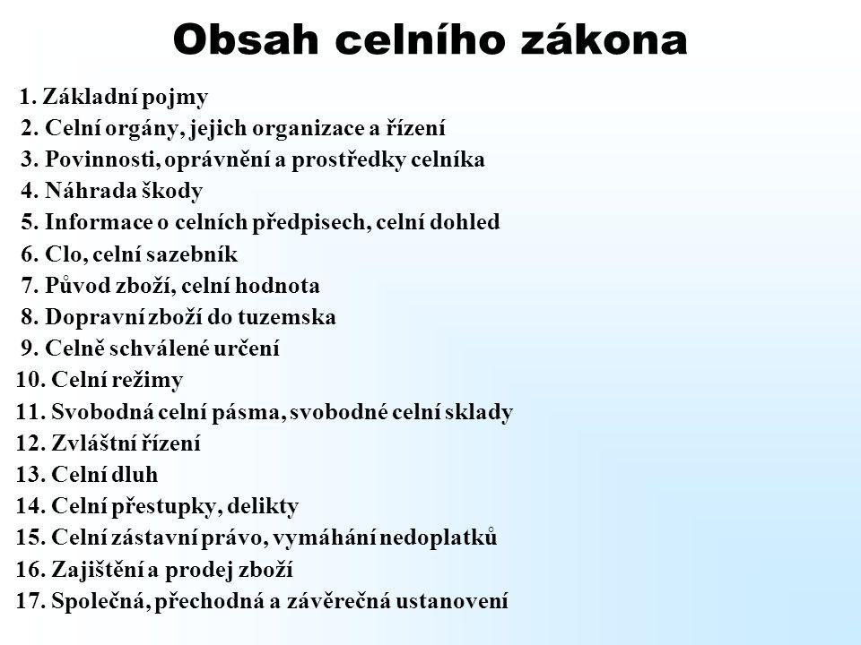Obsah celního zákona 2. Celní orgány, jejich organizace a řízení