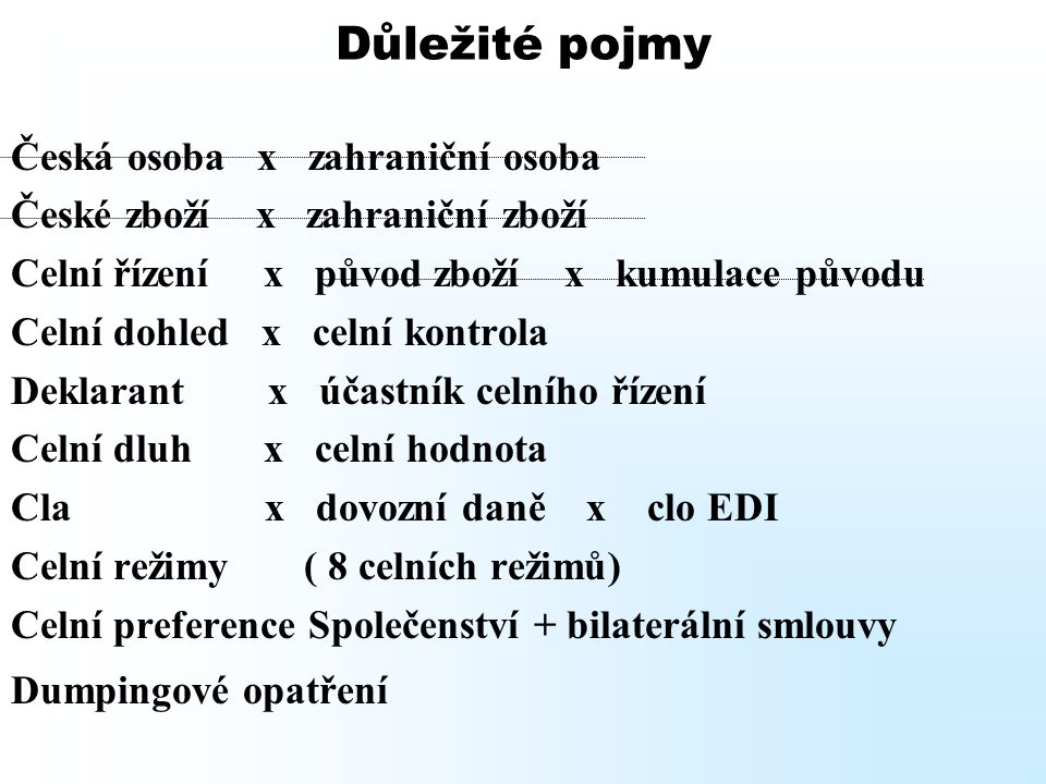 Důležité pojmy Česká osoba x zahraniční osoba