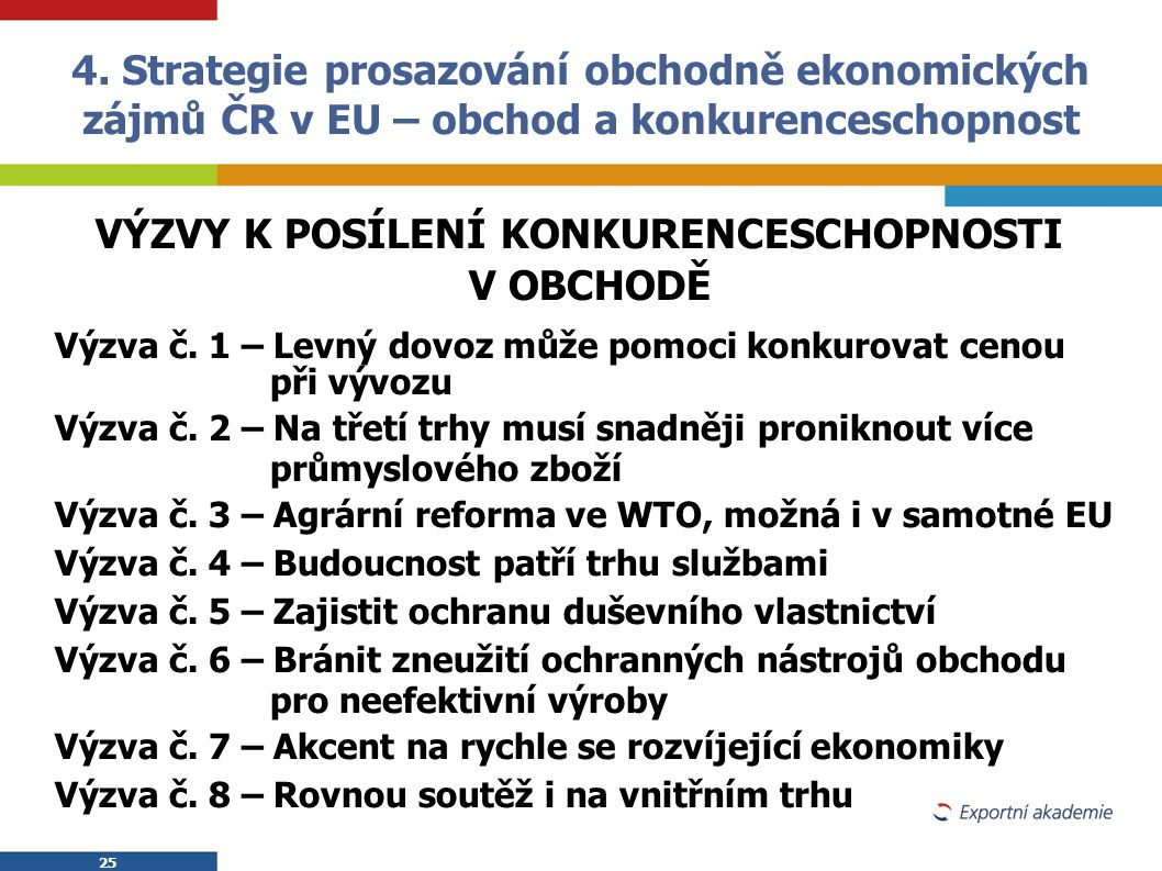 4. Strategie prosazování obchodně ekonomických zájmů ČR v EU – obchod a konkurenceschopnost