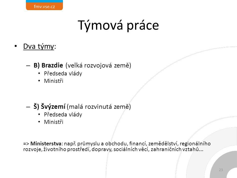 Týmová práce Dva týmy: B) Brazdie (velká rozvojová země)