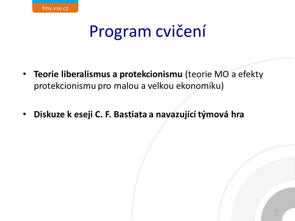 Program cvičení Teorie liberalismus a protekcionismu (teorie MO a efekty protekcionismu pro malou a velkou ekonomiku)