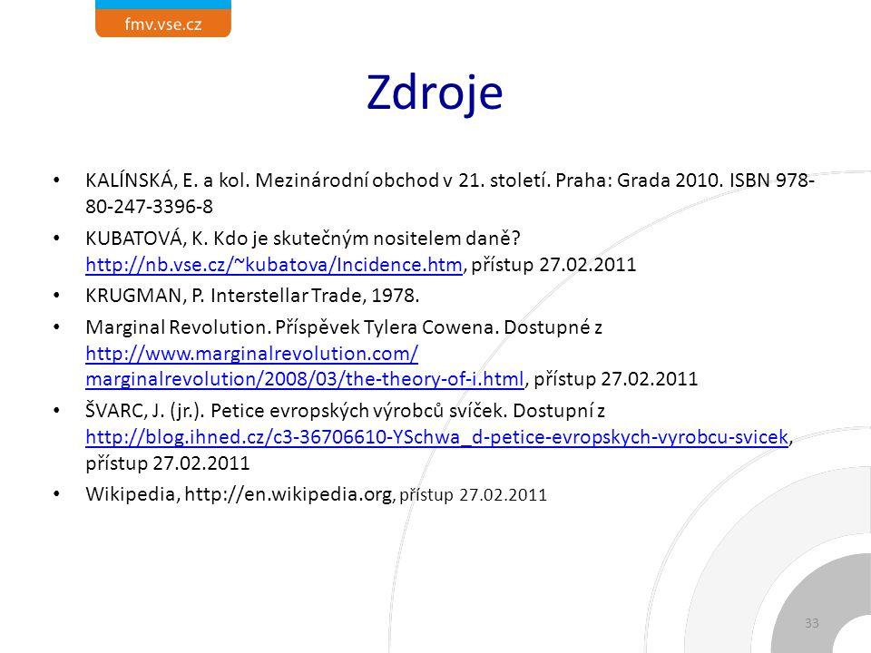 Zdroje KALÍNSKÁ, E. a kol. Mezinárodní obchod v 21. století. Praha: Grada 2010. ISBN 978-80-247-3396-8.