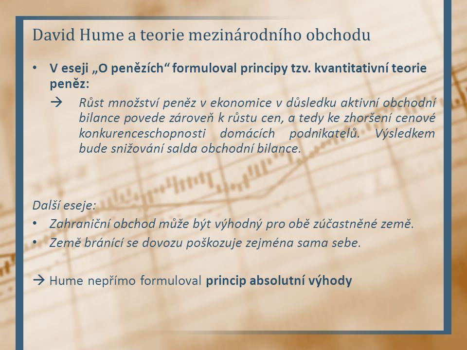 David Hume a teorie mezinárodního obchodu