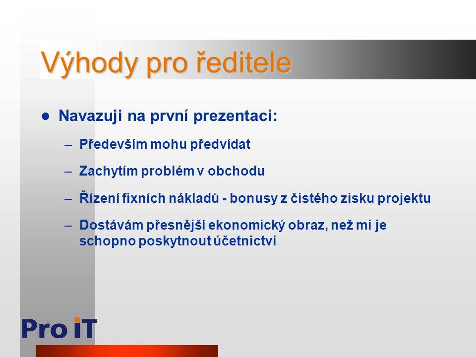 Výhody pro ředitele Navazuji na první prezentaci: