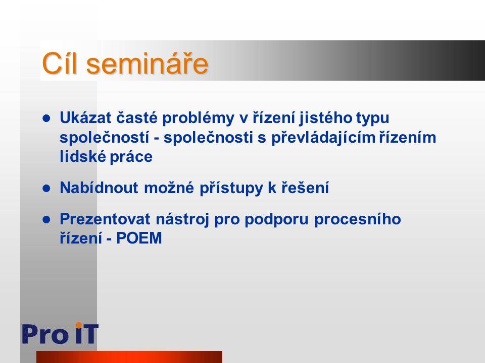 Cíl semináře Ukázat časté problémy v řízení jistého typu společností - společnosti s převládajícím řízením lidské práce.