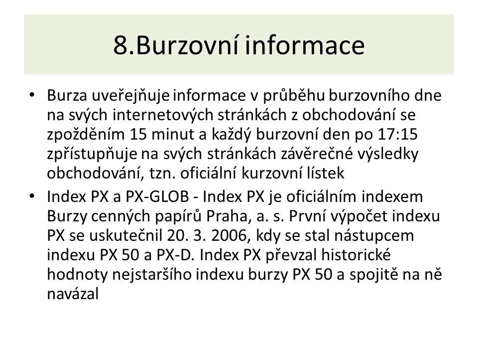 8.Burzovní informace