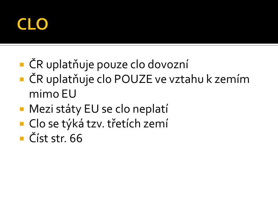 CLO ČR uplatňuje pouze clo dovozní