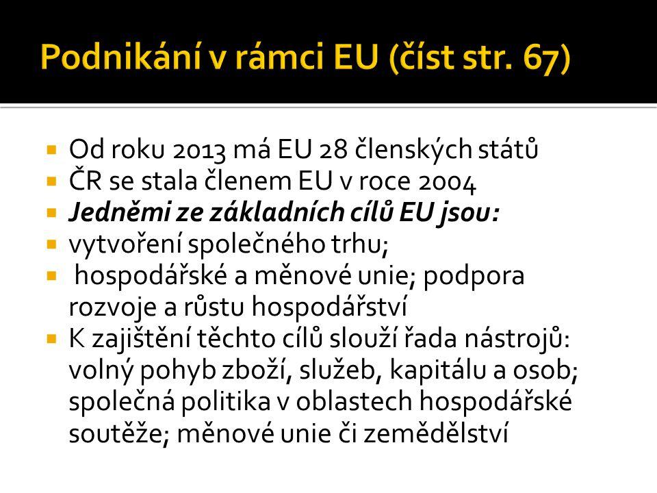Podnikání v rámci EU (číst str. 67)