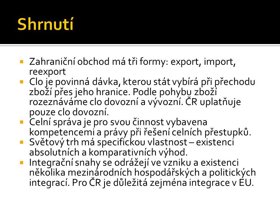 Shrnutí Zahraniční obchod má tři formy: export, import, reexport