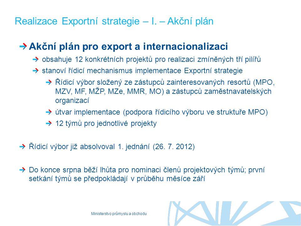 Realizace Exportní strategie – I. – Akční plán