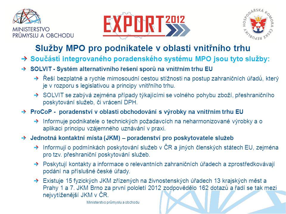 Služby MPO pro podnikatele v oblasti vnitřního trhu