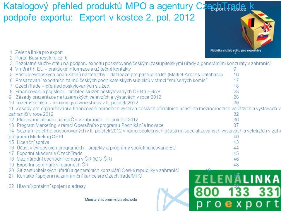Katalogový přehled produktů MPO a agentury CzechTrade k podpoře exportu: Export v kostce 2. pol. 2012