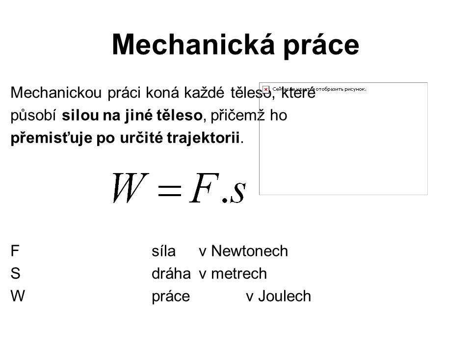 Mechanická práce Mechanickou práci koná každé těleso, které