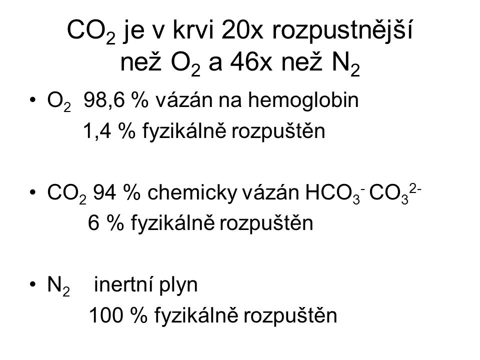 CO2 je v krvi 20x rozpustnější než O2 a 46x než N2