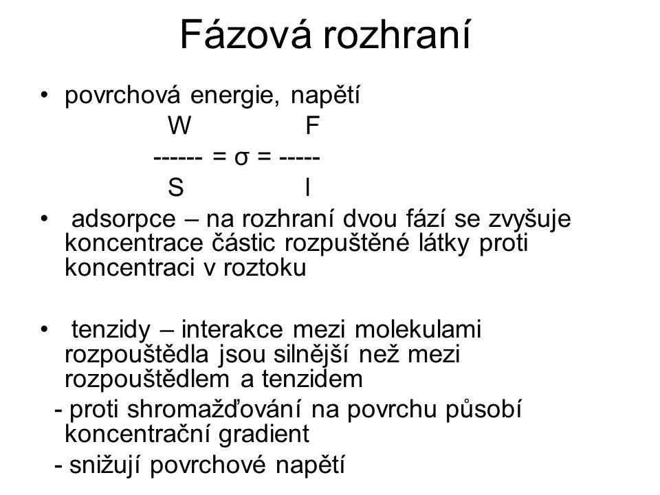 Fázová rozhraní povrchová energie, napětí W F ------ = σ = ----- S l