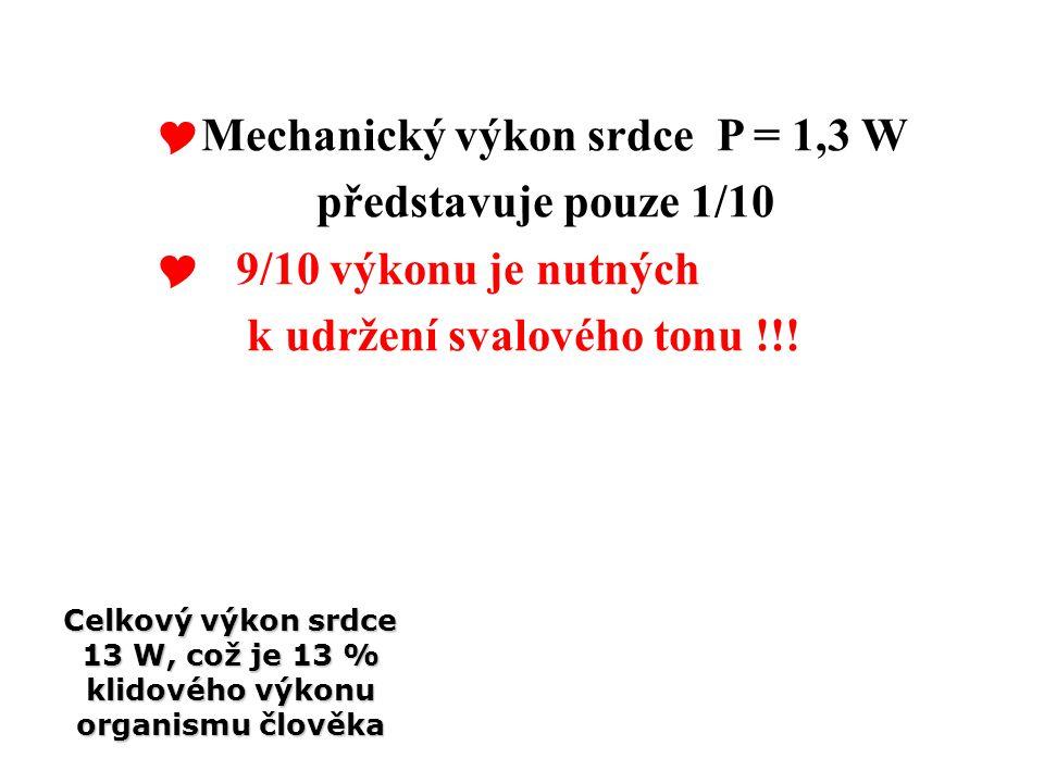 Mechanický výkon srdce P = 1,3 W představuje pouze 1/10