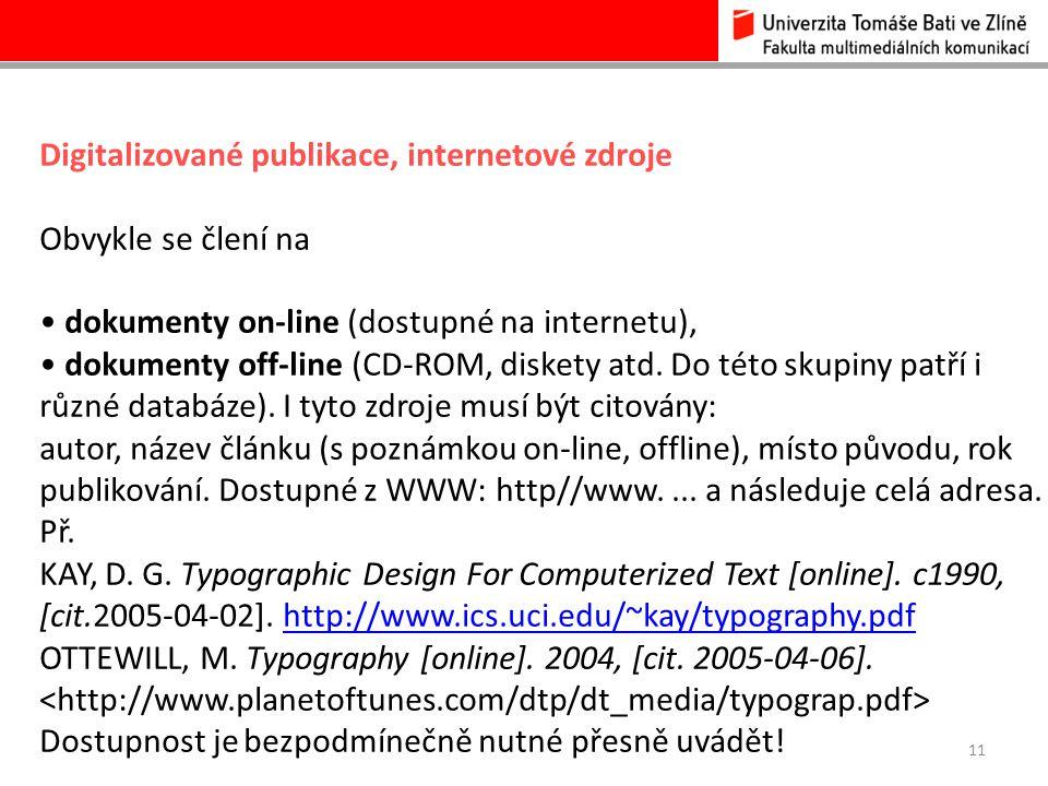 Digitalizované publikace, internetové zdroje