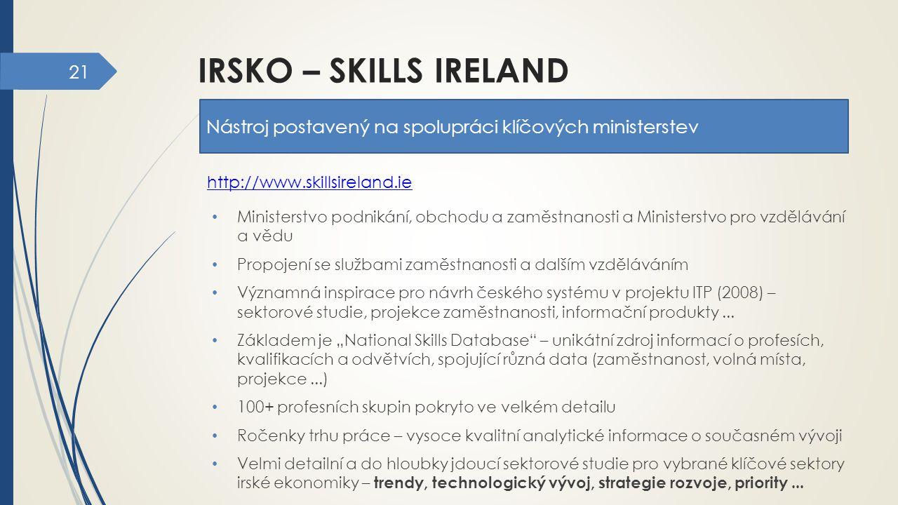 irsko – skills ireland Nástroj postavený na spolupráci klíčových ministerstev. http://www.skillsireland.ie.