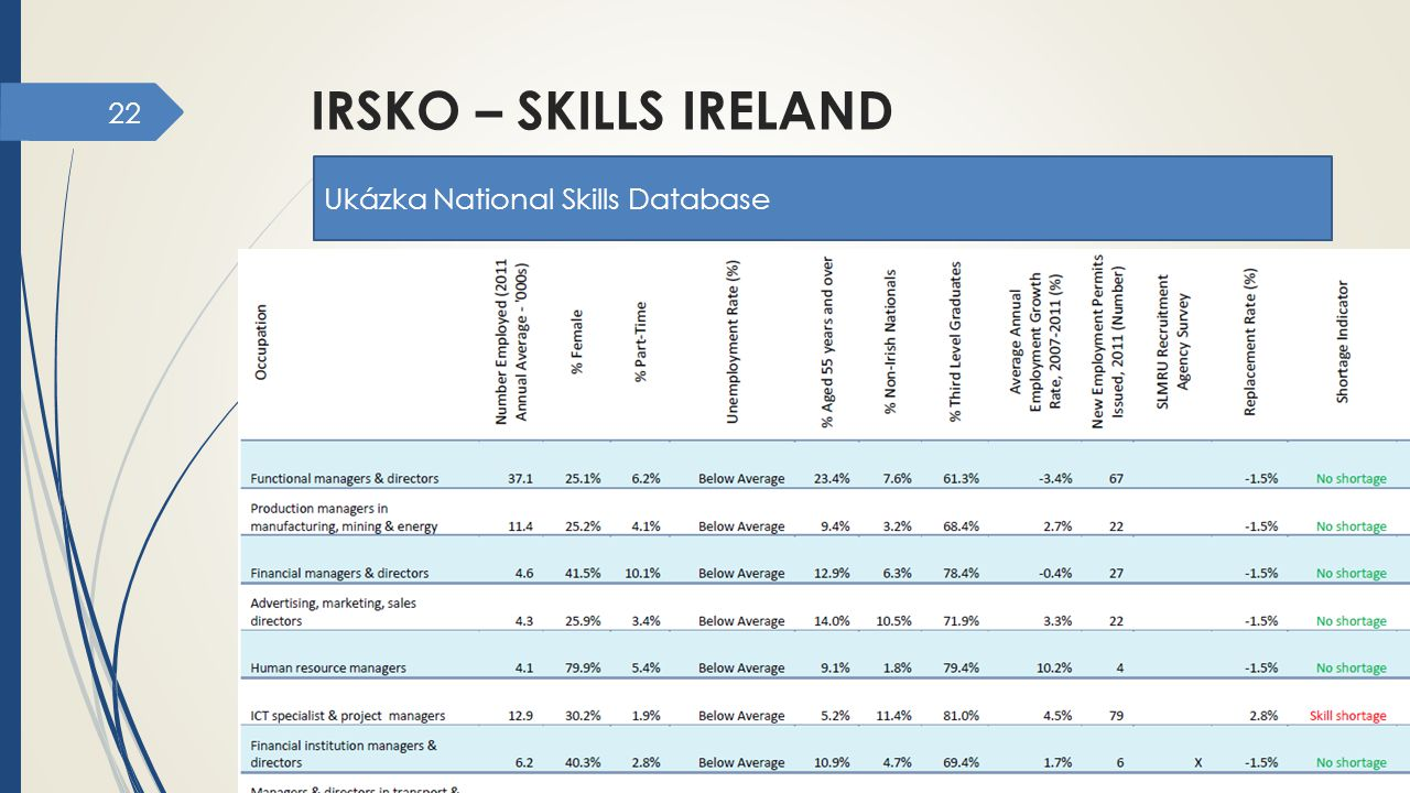 irsko – skills ireland Ukázka National Skills Database