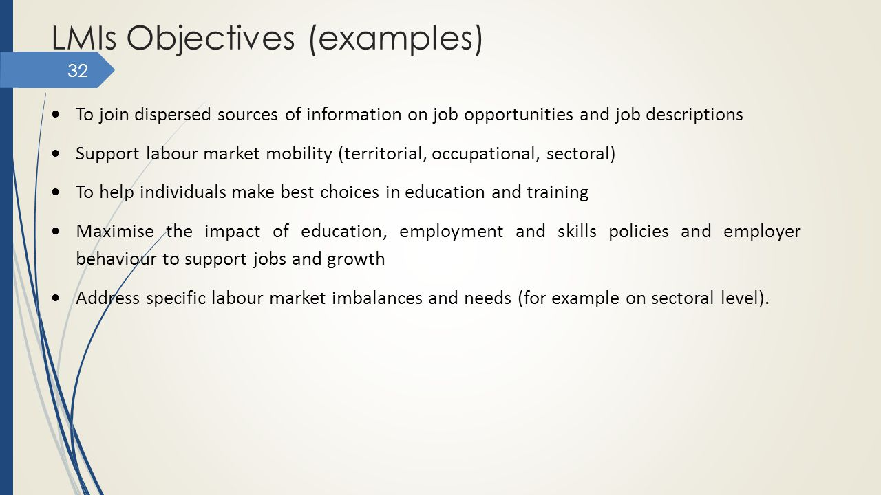 LMIs Objectives (examples)
