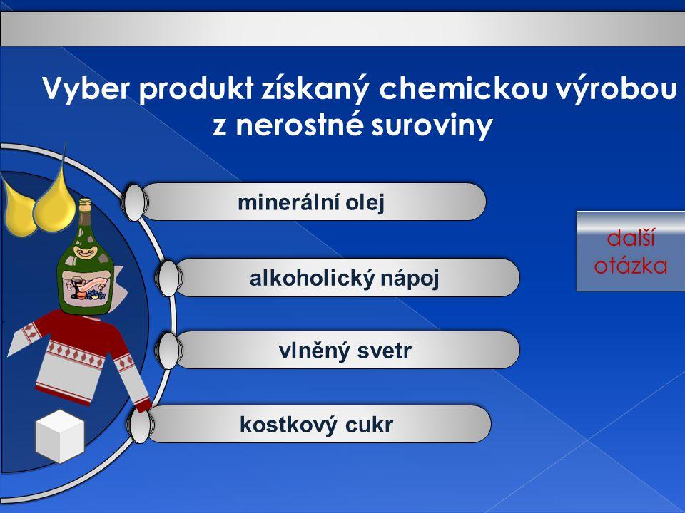 Vyber produkt získaný chemickou výrobou z nerostné suroviny