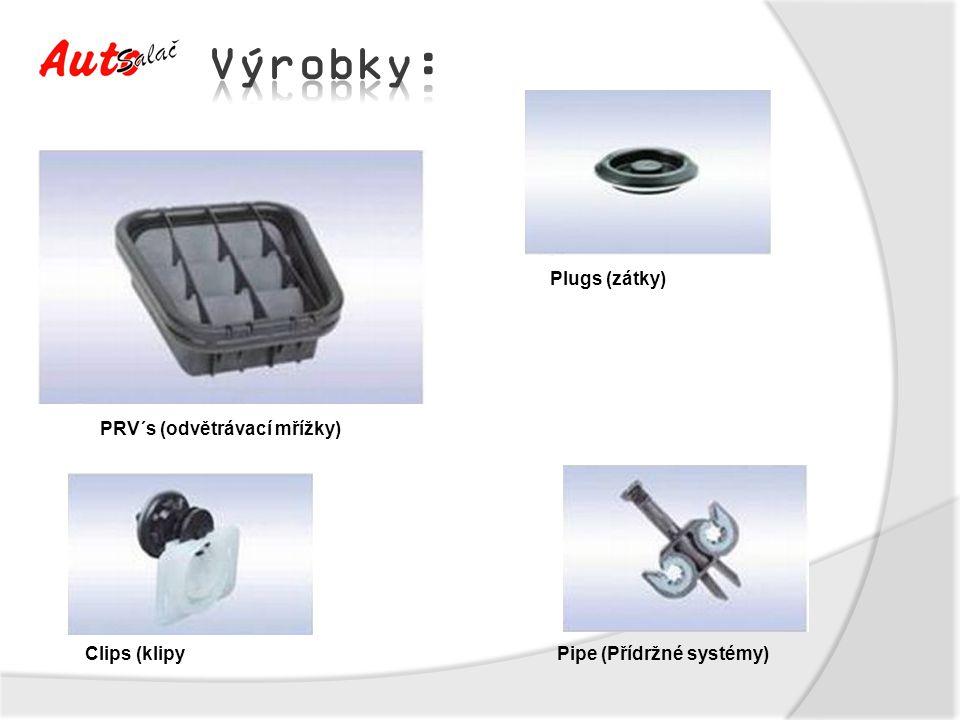 Výrobky: Plugs (zátky) PRV´s (odvětrávací mřížky) Clips (klipy