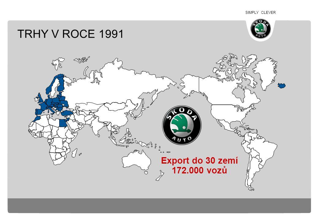 TRHY V ROCE 1991 Export do 30 zemí 172.000 vozů