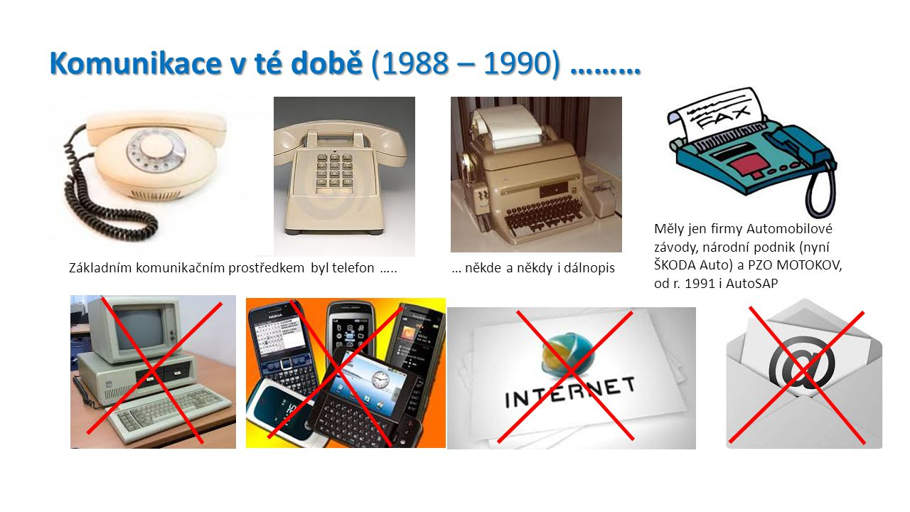 Komunikace v té době (1988 – 1990) ………