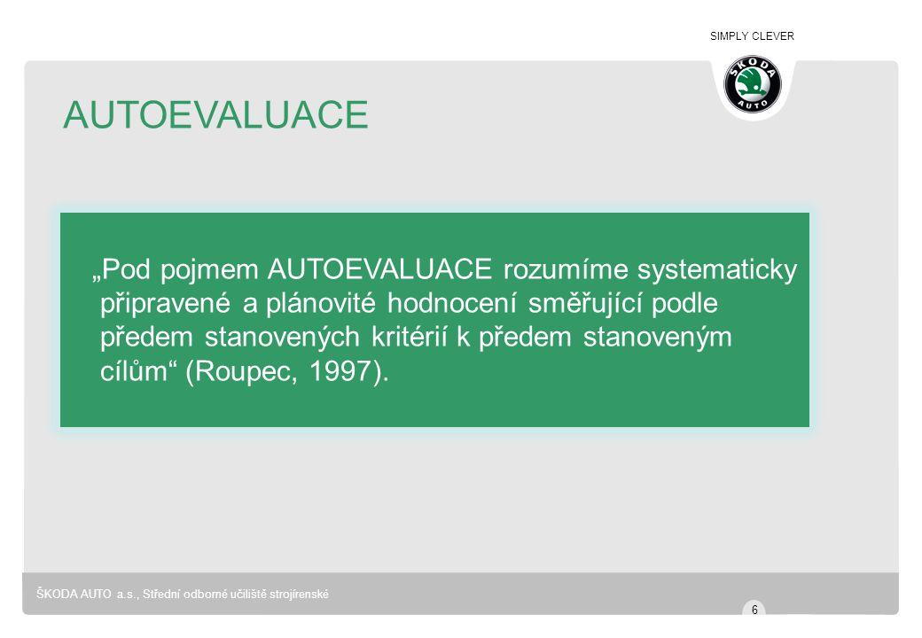 """AUTOEVALUACE """"Pod pojmem AUTOEVALUACE rozumíme systematicky"""