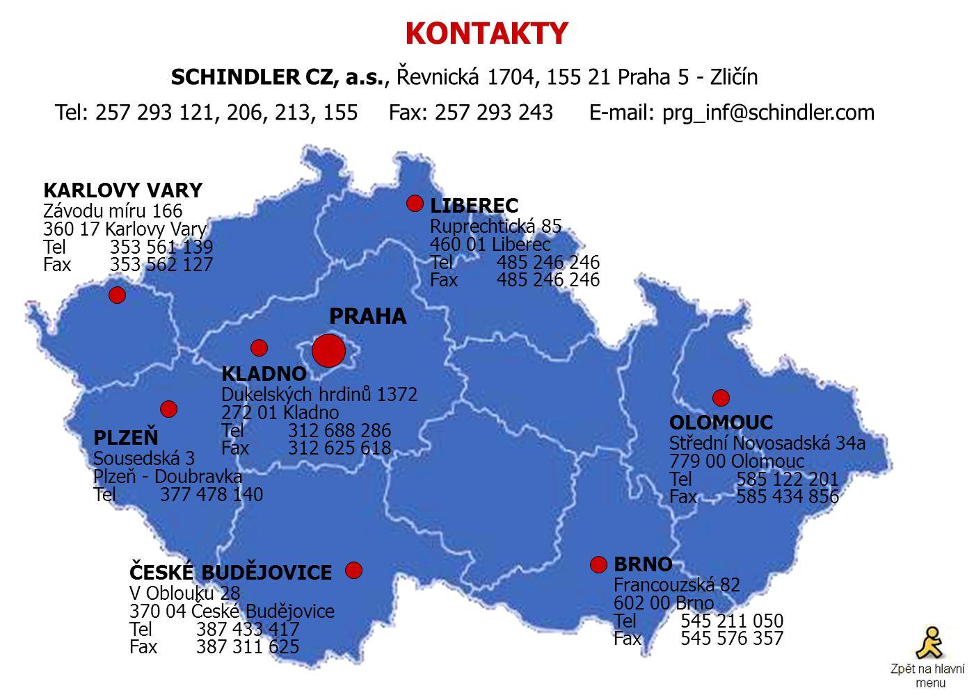 SCHINDLER CZ, a.s., Řevnická 1704, 155 21 Praha 5 - Zličín
