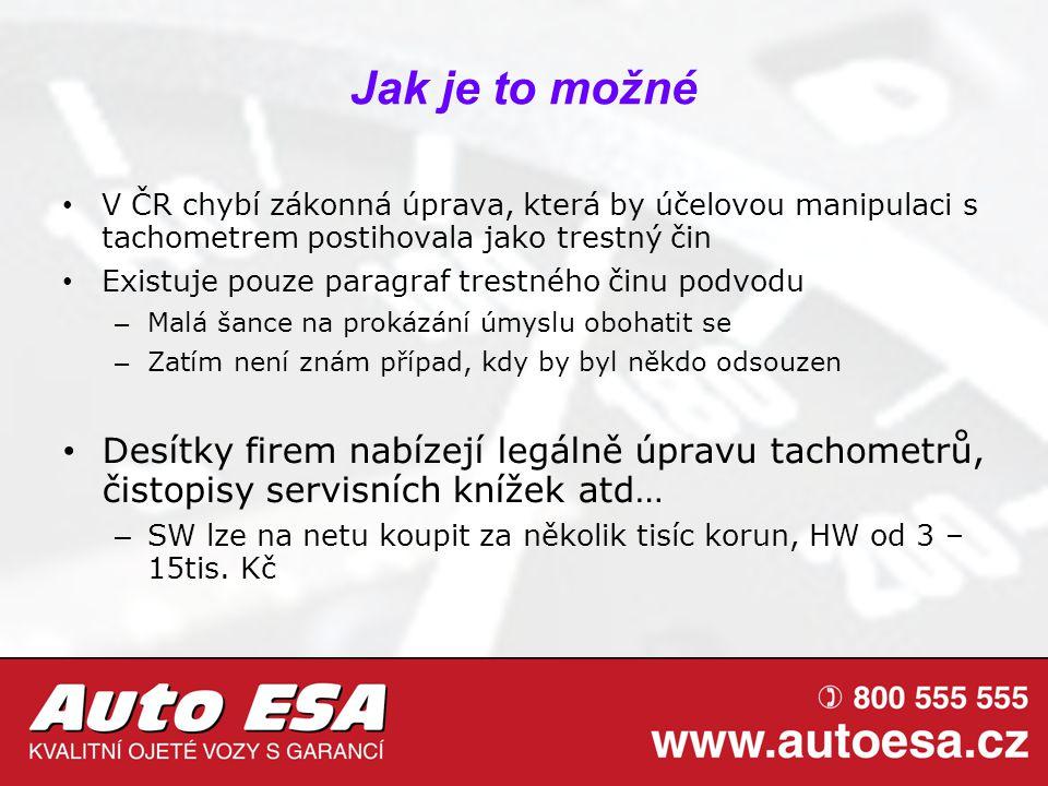Jak je to možné V ČR chybí zákonná úprava, která by účelovou manipulaci s tachometrem postihovala jako trestný čin.