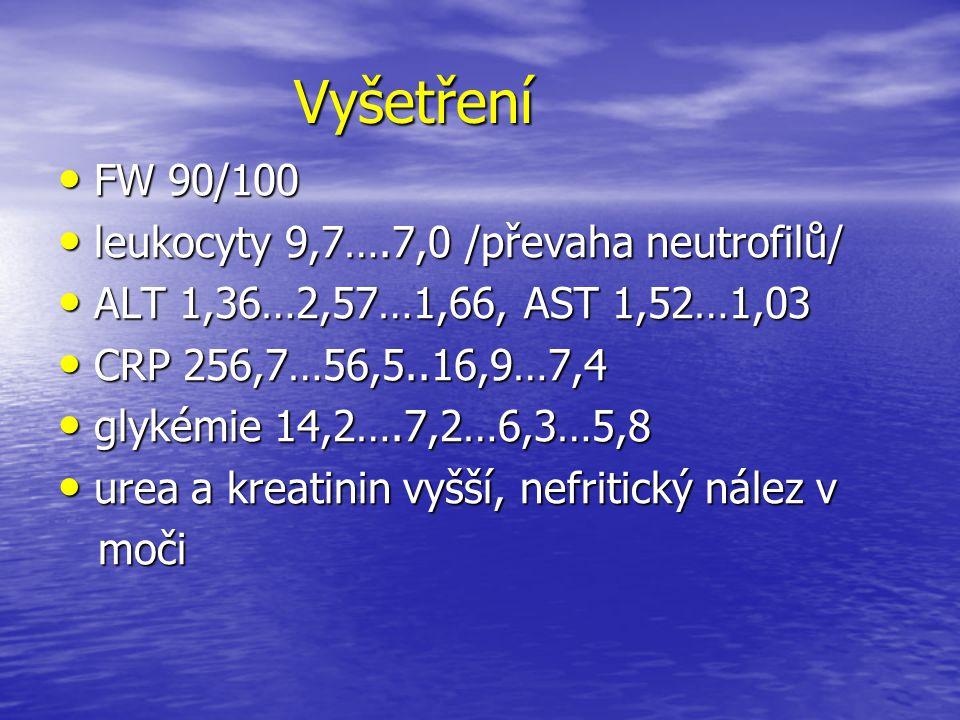 Vyšetření FW 90/100 leukocyty 9,7….7,0 /převaha neutrofilů/