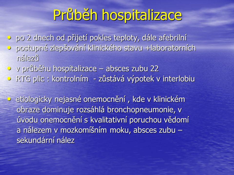 Průběh hospitalizace po 2 dnech od přijetí pokles teploty, dále afebrilní. postupné zlepšování klinického stavu +laboratorních.