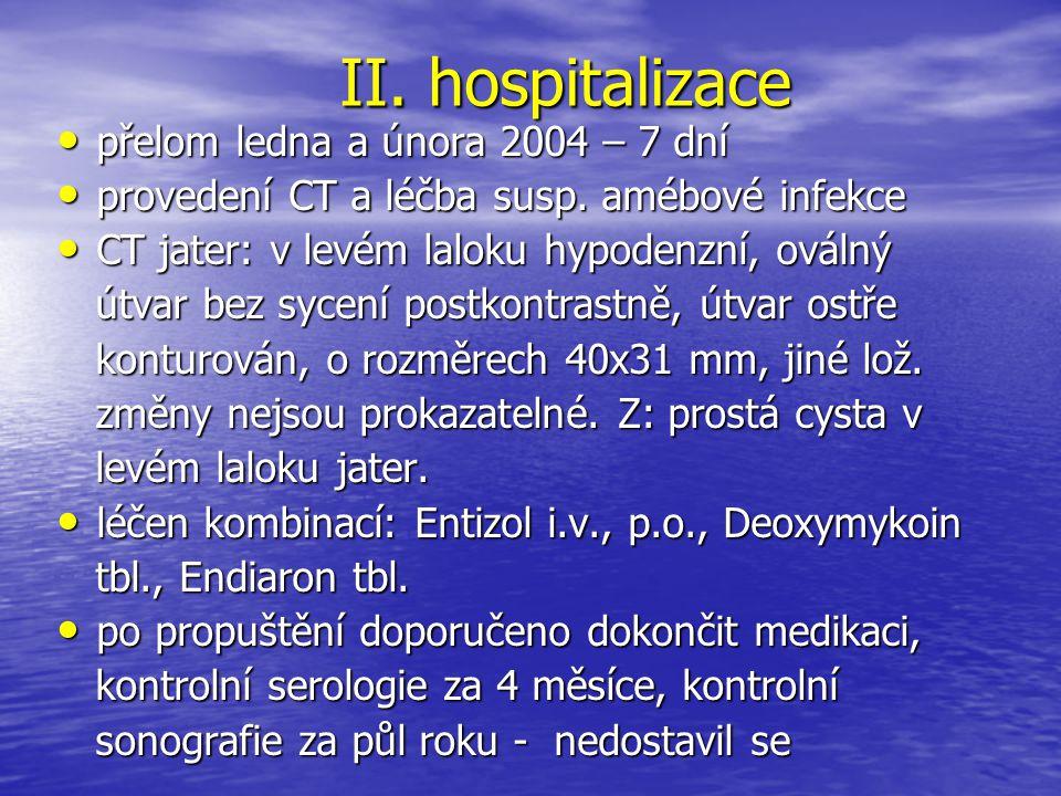 II. hospitalizace přelom ledna a února 2004 – 7 dní
