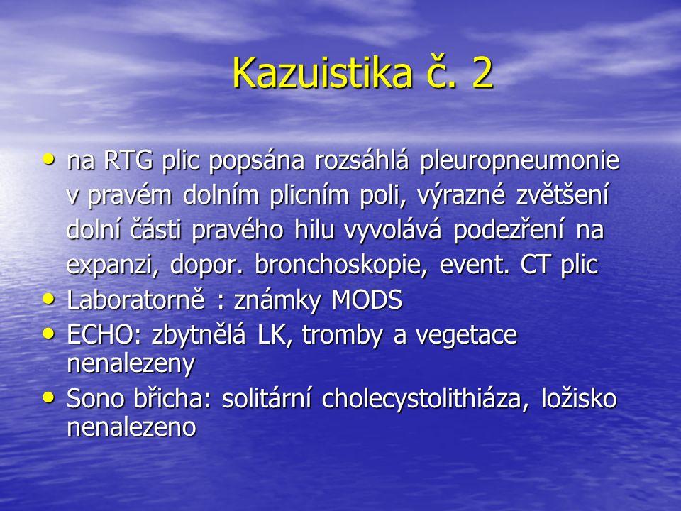 Kazuistika č. 2 na RTG plic popsána rozsáhlá pleuropneumonie