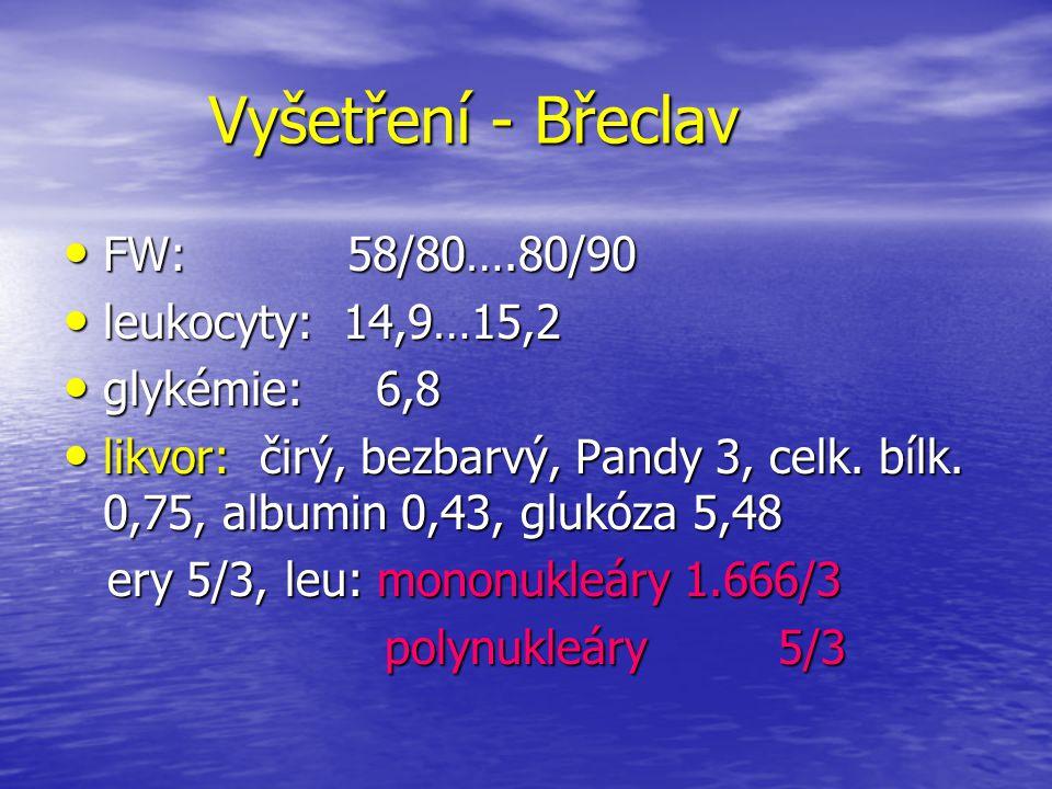 Vyšetření - Břeclav FW: 58/80….80/90 leukocyty: 14,9…15,2