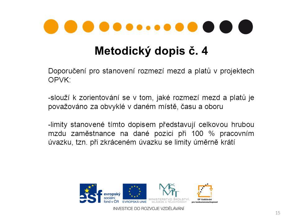 Metodický dopis č. 4 Doporučení pro stanovení rozmezí mezd a platů v projektech OPVK: